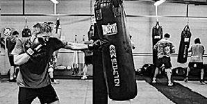 Boxing training bag work